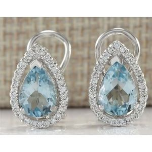 Silver Pear cut Aquamarine Stud Earrings